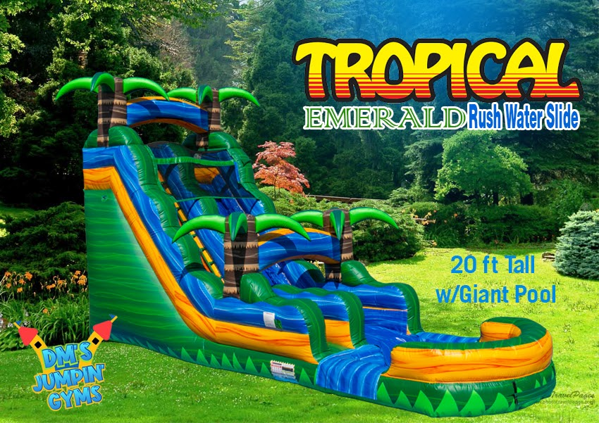 18ft Water Slide - Tropical Colors Green, Blue, Yellow