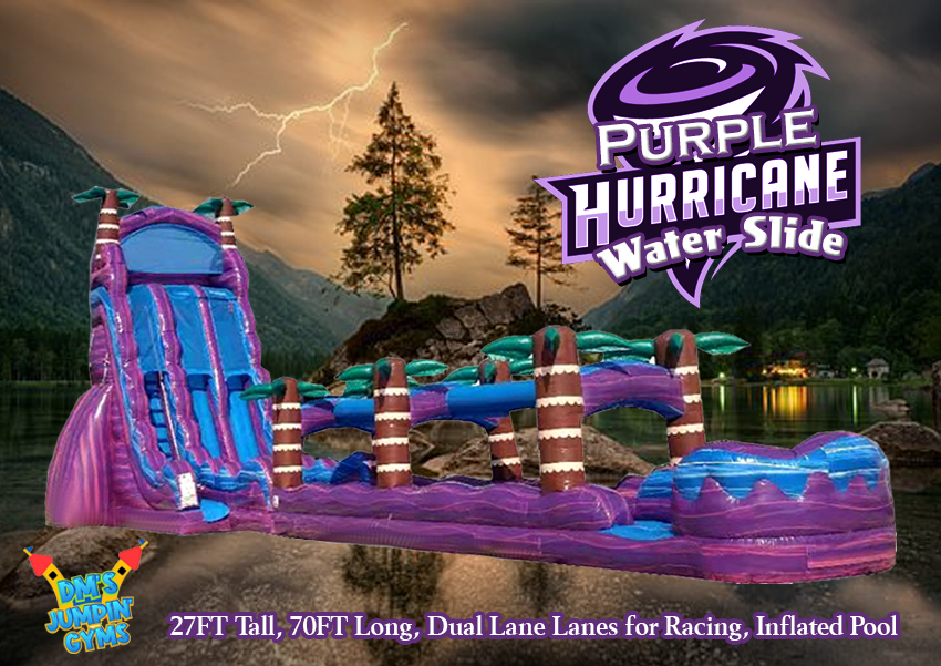 Dual Lane Purple Water Slide